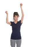 Cheering happy young successful woman with hands up. Stock Photo