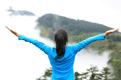 Cheering Hiking Woman Enjoy The Beautiful View At Mountain Peak Stock Images
