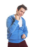 Cheering hispanic guy in a blue jersey Royalty Free Stock Photo