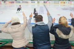 Cheering at hockey game Stock Photo