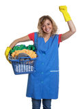 Cheering housewife with blond hair and a basket of clothes Royalty Free Stock Photos