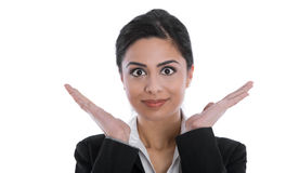 Cheering isolated happy isolated indian beautiful businesswoman. Stock Photography