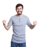 Cheering man with beard Stock Image