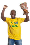 Cheering man from brazil with drum Stock Images