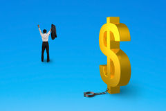 Cheering man free from dollar sign shackle Royalty Free Stock Images