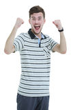Cheering man with his arms raised up on white background. Stock Photography