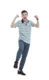 Cheering man with his arms raised up on white background. Royalty Free Stock Photography