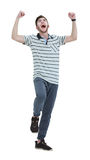 Cheering man with his arms raised up on white background. Royalty Free Stock Images