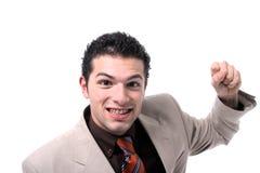 Cheering novo bem sucedido do homem de negócios Foto de Stock Royalty Free