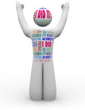 Cheering Person with Success Words Accomplishment Stock Photography
