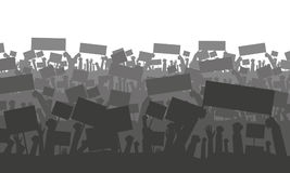 Cheering or protesting crowd with flags. Silhouette of cheering or protesting crowd with flags and banners. Protest, revolution, conflict. Vector illustration Stock Image