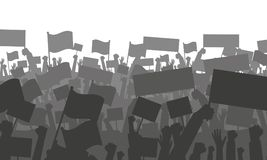 Cheering or protesting crowd with flags. Silhouette of cheering or protesting crowd with flags and banners. Protest, revolution, conflict. Vector illustration Royalty Free Stock Photos