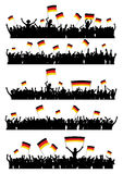 Cheering or Protesting Crowd Germany. A set of 5 silhouettes of cheering or protesting crowd of people with German flags and banners Royalty Free Stock Image