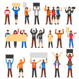 Cheering Protesting Crowd Set. Cheering protesting crowd holding banners flat set isolated on white background vector illustration Royalty Free Stock Photos