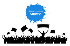 Cheering or Protesting Crowd. A silhouette of cheering or protesting crowd with flags and banners Stock Image
