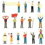 Cheering Protesting People Decorative Icons Set Stock Photography