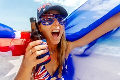Cheering proud patriotic Australian fan supporter stock images