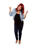 Cheering Red Headed Woman Stock Photos