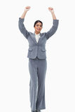 Cheering saleswoman. Against a white background Stock Photography