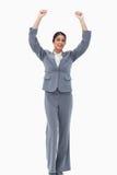 Cheering saleswoman Stock Photography