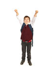 Cheering schoolboy Royalty Free Stock Images