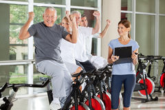 Cheering senior citizens Royalty Free Stock Images