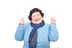 Cheering sênior feliz da mulher Imagens de Stock