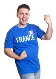 Cheering soccer fan from France Royalty Free Stock Image