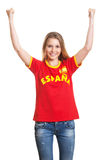 Cheering spanish soccer fan Stock Images