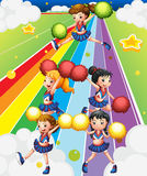 A cheering squad at the colorful street. Illustration of a cheering squad at the colorful street Stock Image