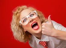 Cheering stylish woman Stock Photos