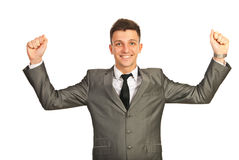 Cheering successful business man Royalty Free Stock Image