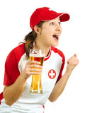 Cheering Swiss sports fan. Photo of a Swiss sports fans holding a beer and cheering for her team isolated over white background Stock Photography