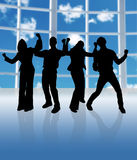 Cheering Team. Happy business team in a big window office royalty free illustration