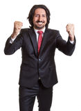Cheering turkish businessman Stock Image