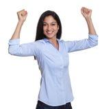 Cheering turkish businesswoman Stock Images