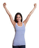 Cheering turkish woman in a striped shirt. Cheering turkish woman with long black hair in a striped shirt an isolated white background for cut out Stock Images