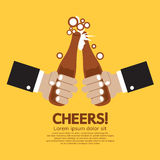 Cheering Of Two Bottles Beer Royalty Free Stock Images