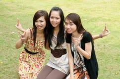 Cheering Vietnamese Girl Royalty Free Stock Photo