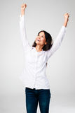 Cheering woman Stock Photography