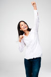 Cheering woman Stock Photos