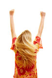 Cheering woman from behind Royalty Free Stock Images