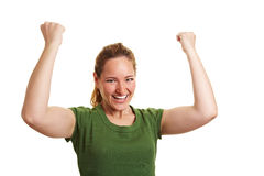Cheering woman clenching her fists Royalty Free Stock Photos