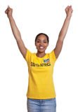 Cheering woman from South Africa Stock Photo