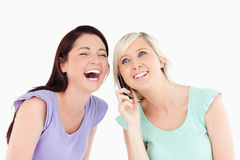 Cheering women on the phone Stock Image