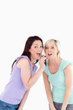 Cheering Women singing karaoke Royalty Free Stock Image