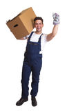 Cheering worker with a box - complete body Stock Photography