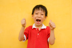 Cheering young boy Stock Photo