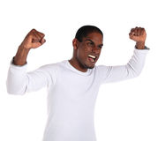 Cheering young man Royalty Free Stock Image