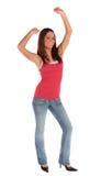 Cheering young woman Stock Photos
